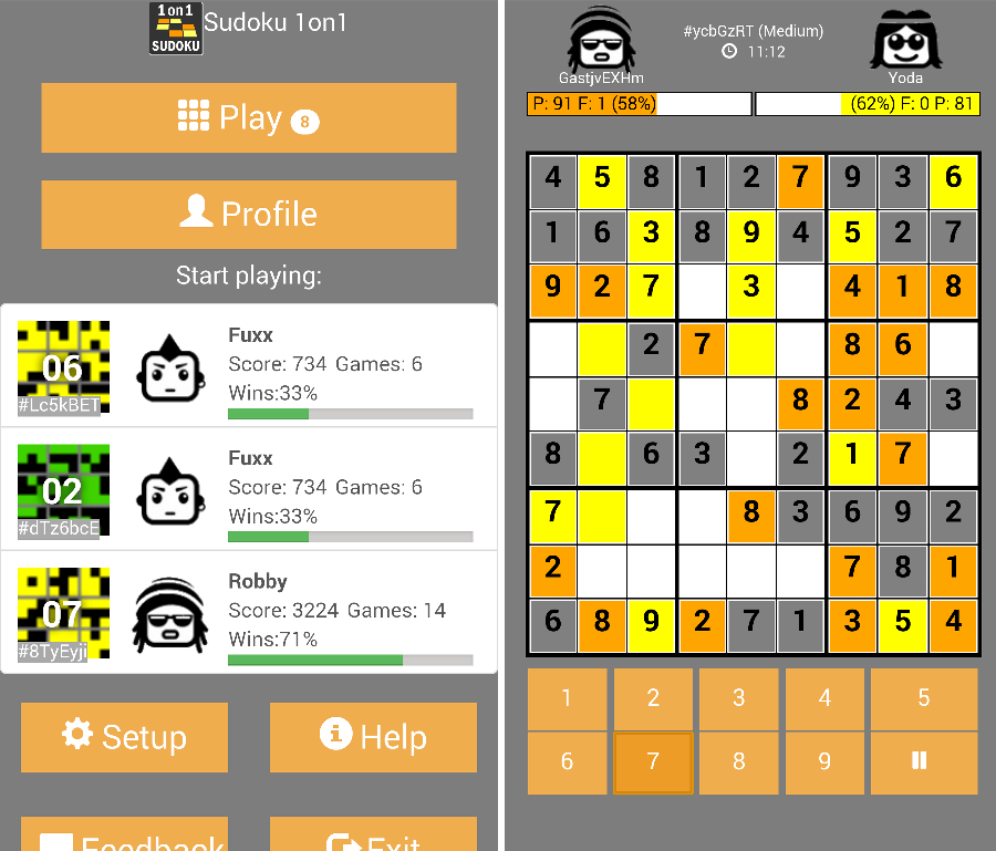 Screenshot review sudoku app review - sudoku 1on1